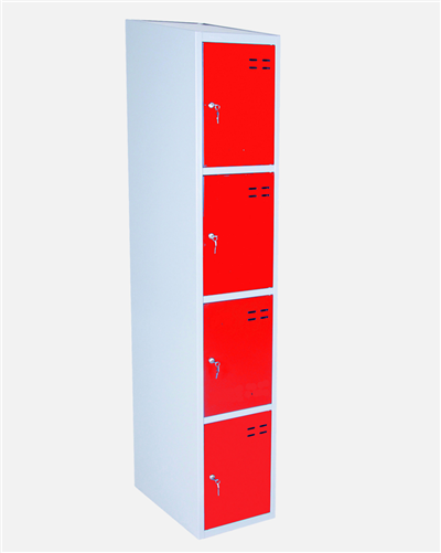 Storage Locker, Red/Grey 4 Compartments