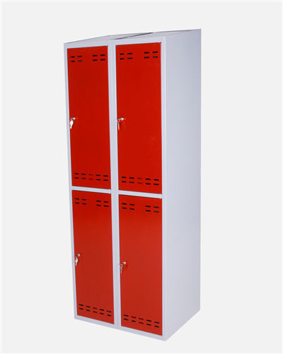 Clothing Cabinet, Red/Grey 4 Doors
