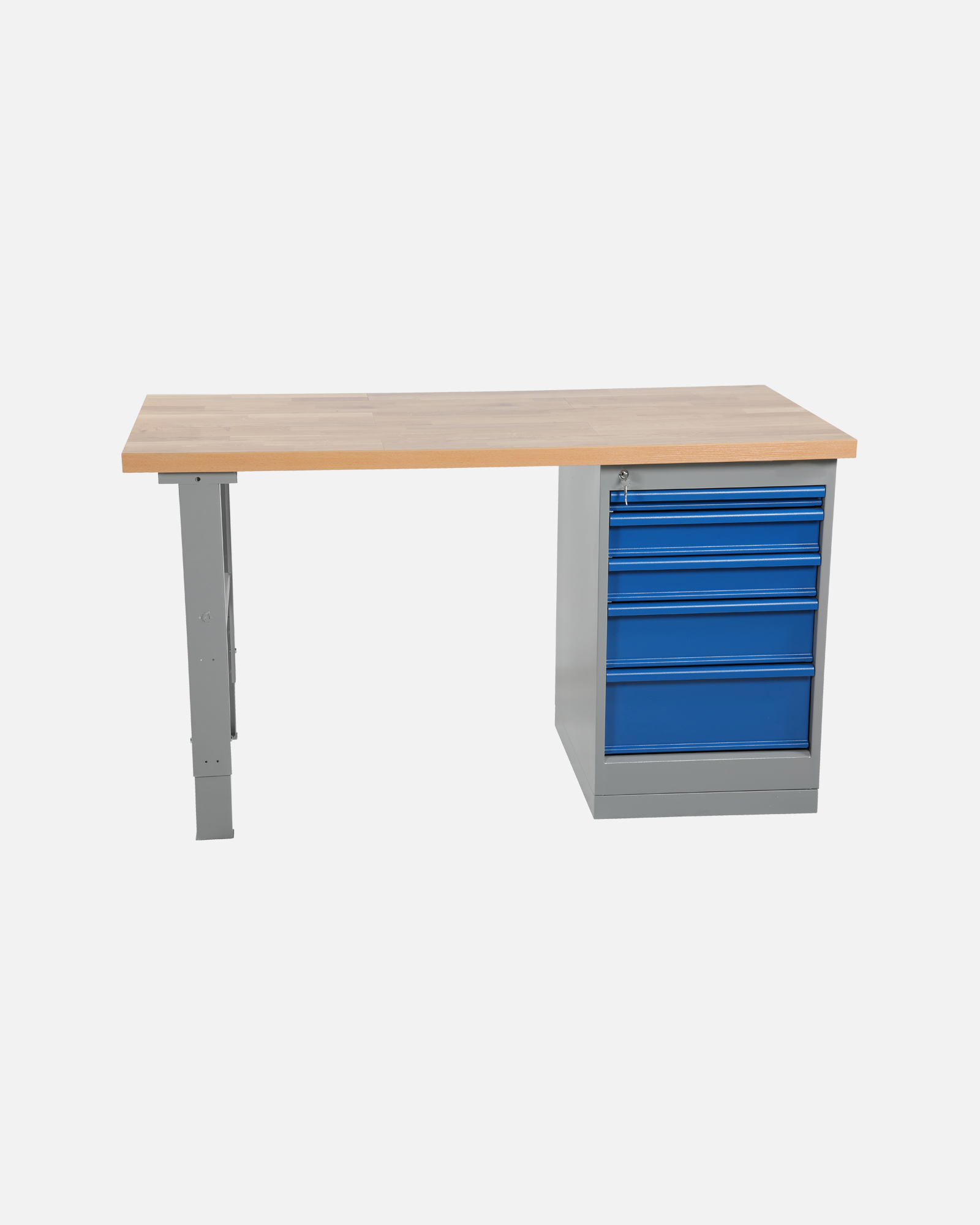 Worktable With Drawer Unit 5 Drawers 1600 mm Oak