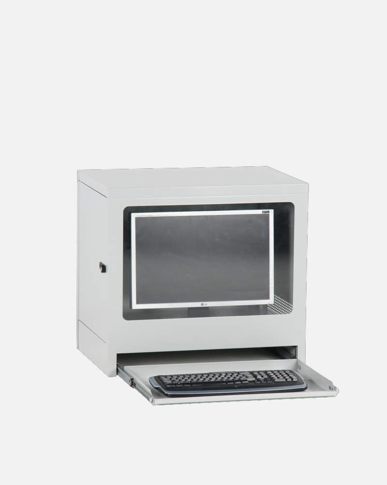 Computer Cab, Small, Knock-Down Grey