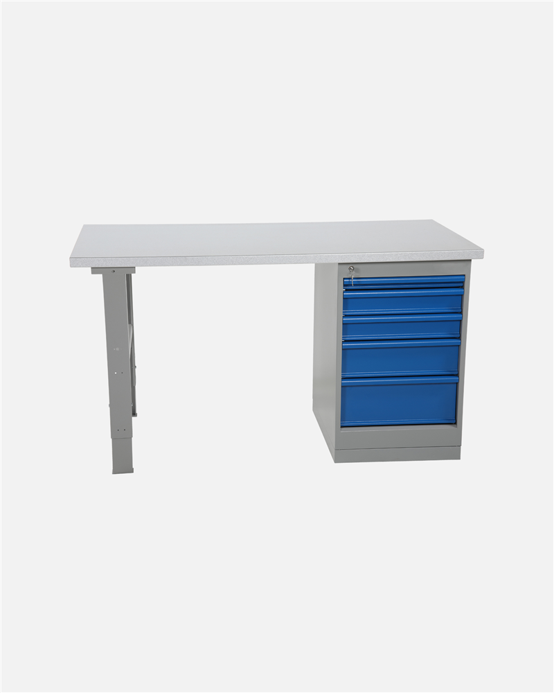 Worktable With Drawer Unit 5 Drawers 1600 mm Steel