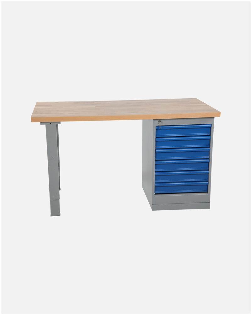 Worktable With Drawer Unit 6 Drawers 2000 mm Oak
